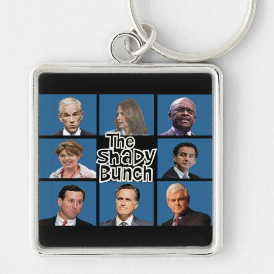 GOP - The Shady Bunch - Paul Romney Palin Bachmann Silver-Colored Square Keychain