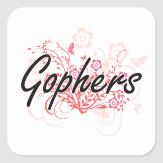 Gophers with flowers background square sticker