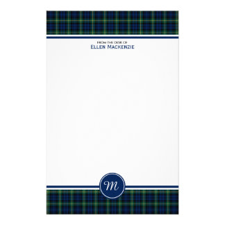 Gordon Clan Dark Blue and Green Tartan Monogram Stationery Design