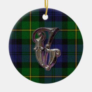Gordon Plaid Monogram ornament