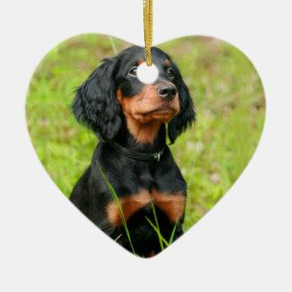 Gordon Setter Attentive Black Dog Puppy Ceramic Heart Ornament