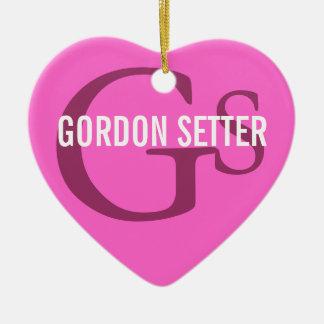 Gordon Setter Breed Monogram Ceramic Heart Ornament