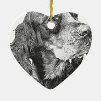 Gordon setter ceramic heart ornament