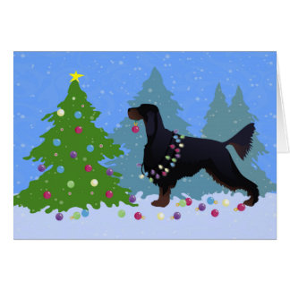 Gordon Setter decorating tree in the For Card