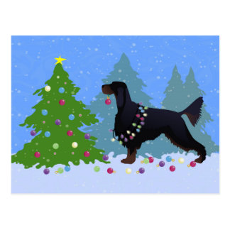 Gordon Setter decorating tree in the For Postcard