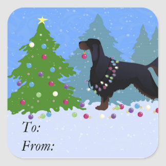 Gordon Setter decorating tree in the For Square Sticker