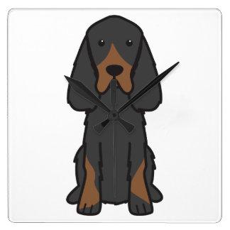 Gordon Setter Dog Cartoon Clock
