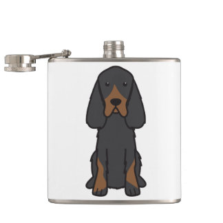 Gordon Setter Dog Cartoon Flasks