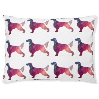 Gordon Setter Geometric Pattern Silhouette Pink Large Dog Bed