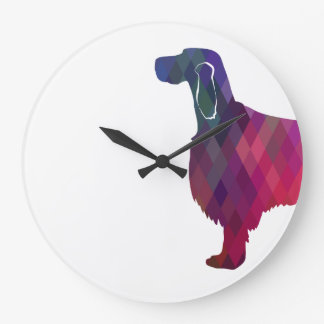 Gordon Setter Geometric Pattern Silhouette Pink Wall Clocks