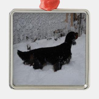 Gordon Setter In A Snowstorm Ornament