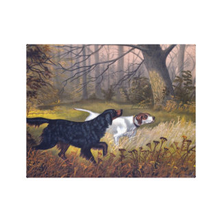 Gordon Setter on Point Print on Canvas