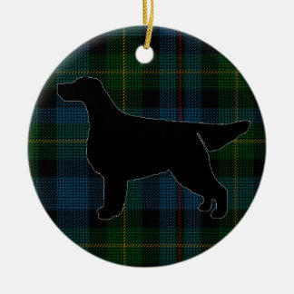 Gordon Setter Silhouette on Tartan Ornament