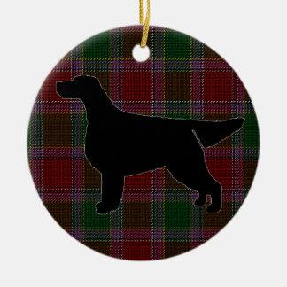 Gordon Setter Silhouette on Tartan Ornament
