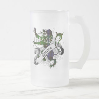 Gordon Tartan Lion Frosted Glass Beer Mug
