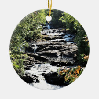 Gorge at Moxie Falls in West Forks Maine Ceramic Ornament