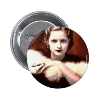 Gorgeous 1920s Woman with Intense Blue Eyes 2 Inch Round Button