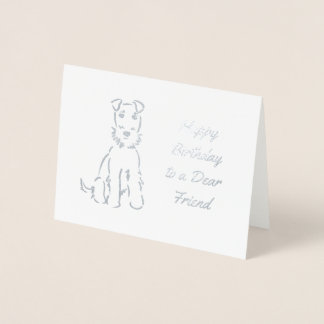 Gorgeous Airedale Terrier Sketch on Customizable Foil Card