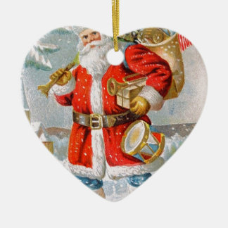 Gorgeous American Patriotic Christmas Santa Ceramic Heart Ornament