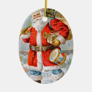 Gorgeous American Patriotic Christmas Santa Ceramic Oval Ornament