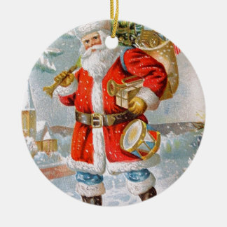 Gorgeous American Patriotic Christmas Santa Round Ceramic Ornament