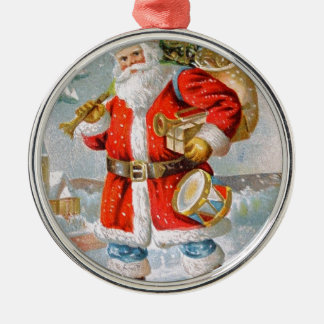 Gorgeous American Patriotic Christmas Santa Silver-Colored Round Ornament