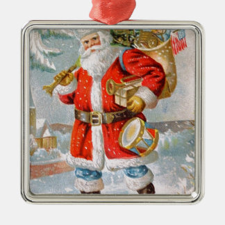 Gorgeous American Patriotic Christmas Santa Silver-Colored Square Ornament