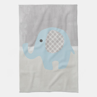 Gorgeous Baby Elephant in Blue Kitchen Towel