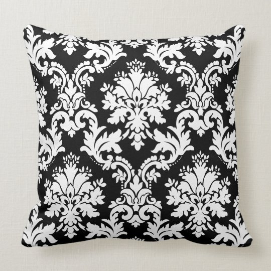 Gorgeous Black and White Damask Floral Pattern Throw Pillow