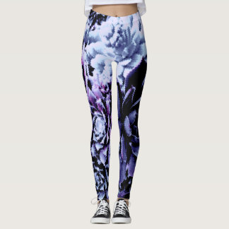 Gorgeous black purple blue leaves leggings