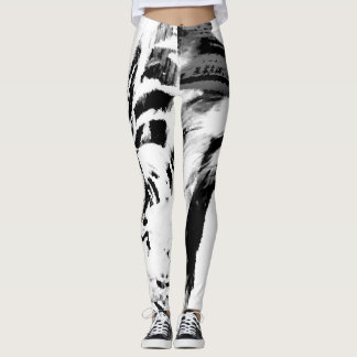 Gorgeous black swirls on white leggings