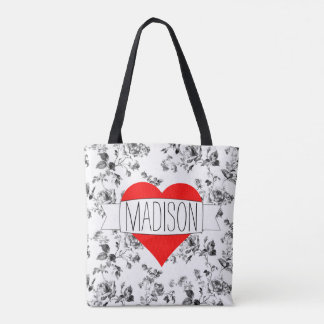 Gorgeous Black & White Floral with Red Heart Tote