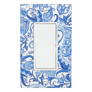 Gorgeous Blue White Floral Paisley Pattern Light Switch Cover