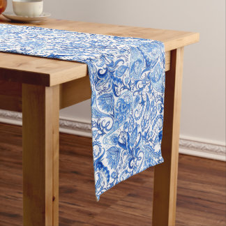 Gorgeous Blue White Floral Paisley Pattern Long Table Runner