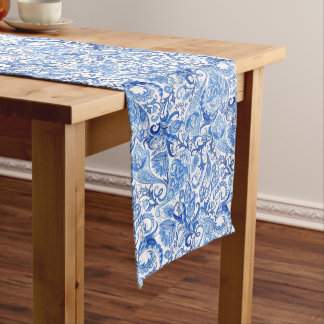Gorgeous Blue White Floral Paisley Pattern Medium Table Runner