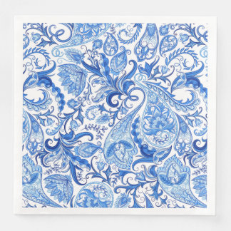 Gorgeous Blue White Floral Paisley Pattern Paper Dinner Napkin