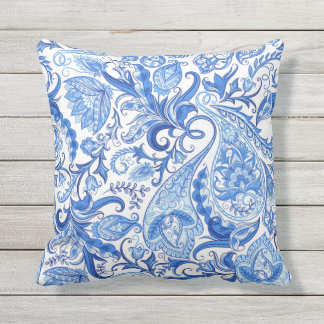 Gorgeous Blue White Floral Paisley Pattern Throw Pillow