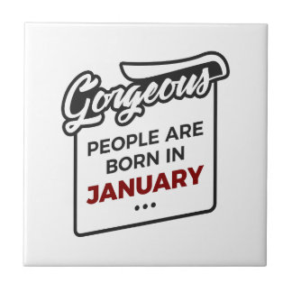 Gorgeous Born In January Babies Birthday Tile