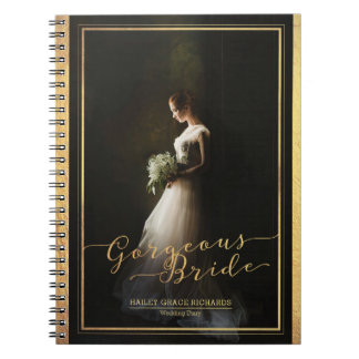 Gorgeous Bride Elegant Typography Photo Template Spiral Notebook