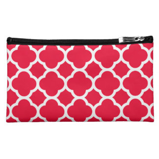 Gorgeous Bright Shade of Coral Quatrefoil Pattern Cosmetic Bag
