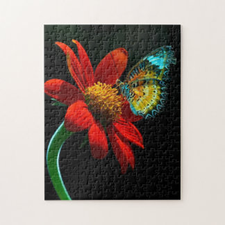 Gorgeous Butterfly On Red Flower. Jigsaw Puzzle