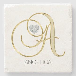 Gorgeous Collection Monogram Initials 'A' Diamond Stone Coaster