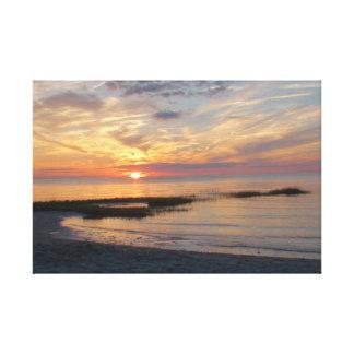 Gorgeous Colorful Sunset over a Cape Cod Beach Canvas Print