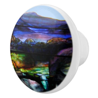 Gorgeous Colors Stain Glass Nature Ceramic Knob