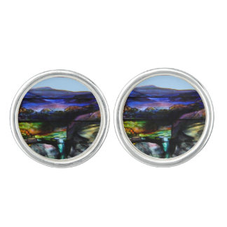 Gorgeous Colors Stain Glass Nature Cuff Links