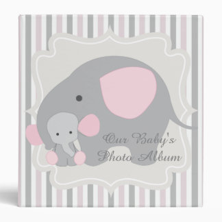 Gorgeous Custom Baby Pink Elephant Photo album 3 Ring Binders