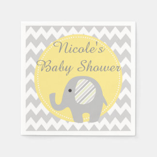 Gorgeous Custom Baby Shower Neutral Elephant Disposable Napkins