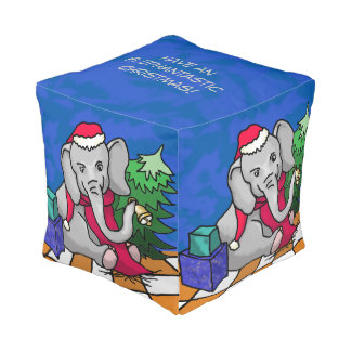 Gorgeous Cute Santa Cartoon Christmas Elephants Pouf