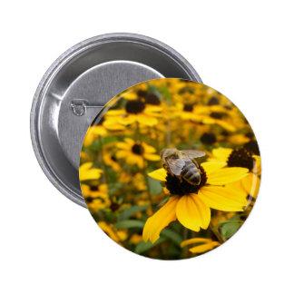 GORGEOUS DAISY FIELDS & HONEY BEE 2 INCH ROUND BUTTON