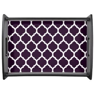 Gorgeous Deep Purple Moroccan Quatrefoil Pattern Serving Tray